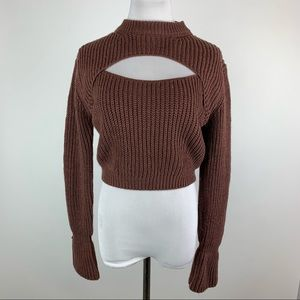 TIC:TOC Brown Open Neck Keyhole Sweater Large